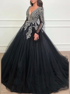 Ericdress Long Sleeves Ball Gown Beading Evening Dress