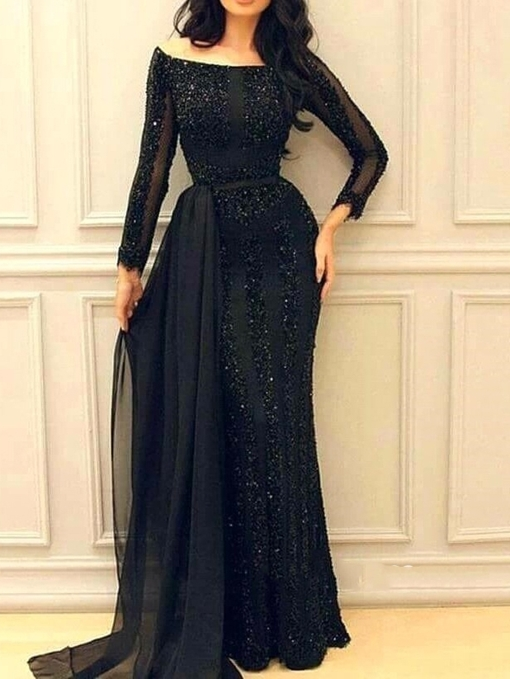 Ericdress Long Sleeves Sequins Black Evening Dress 2019