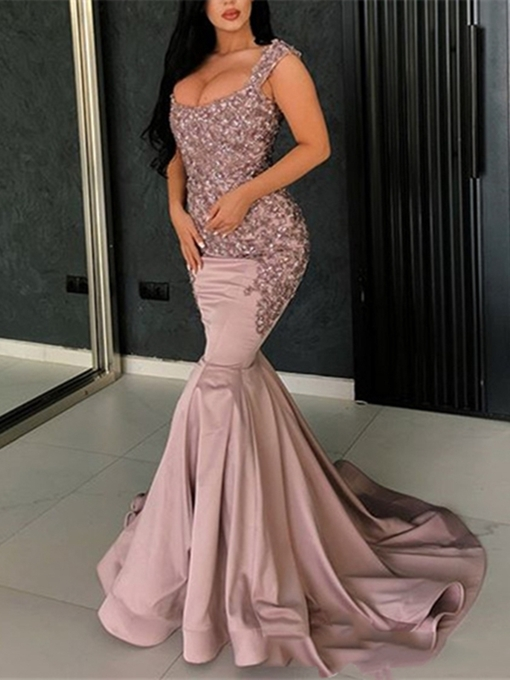 Ericdress Mermaid Sleeveless Beading Straps Evening Dress 2019