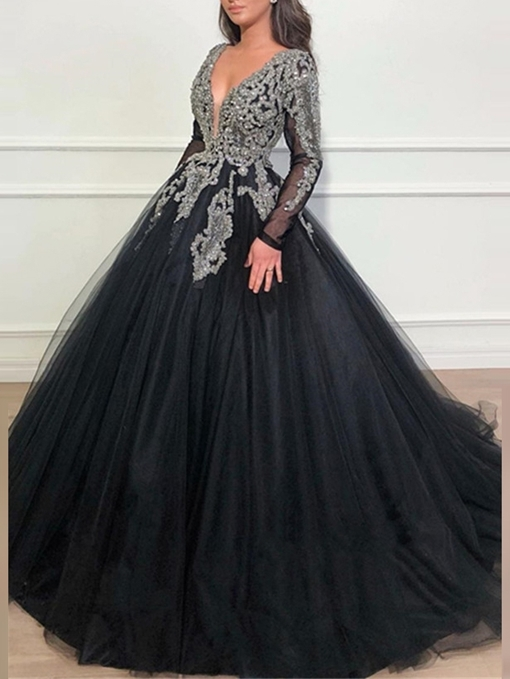 Ericdress Long Sleeves Ball Gown Beading Evening Dress 2019