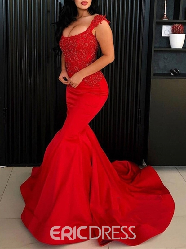 Ericdress Floor-Length Appliques Sleeveless Mermaid Evening Dress