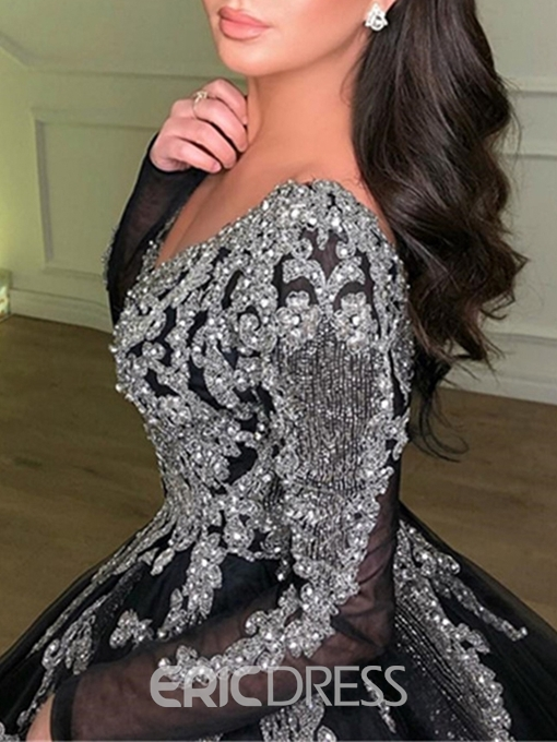 Ericdress V-Neck Long Sleeve Ball Gown Beading Evening Dress 2019