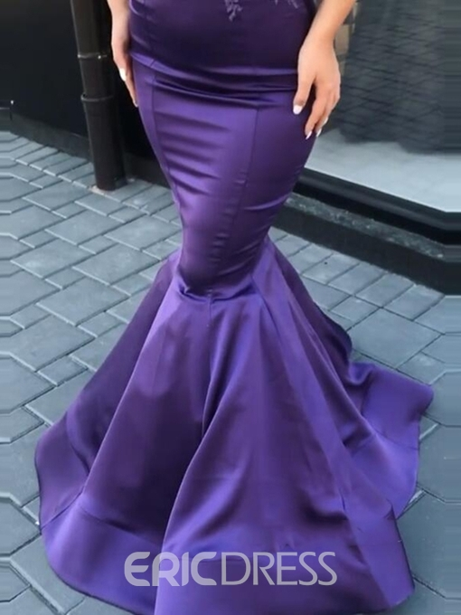 Ericdress Appliques High Neck Cap Sleeves Mermaid Evening Dress 2019
