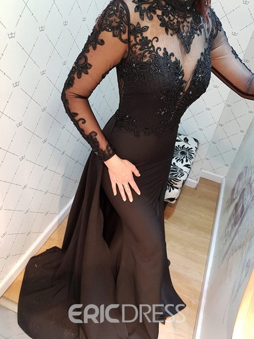 Ericdress Mermaid Long Sleeves Lace Black Evening Dress 2019