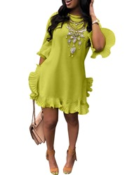 Ericdress African Fashion Above Knee Round Neck Pleated Casual Dress thumbnail