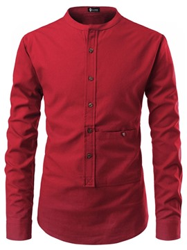 Ericdress Casual Stand Collar Pocket Slim Mens Shirt