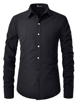 Ericdress Lapel Plain Button Slim Mens Single-Breasted Shirt