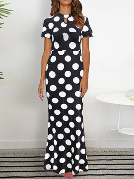 Ericdress Print Ankle-Length Round Neck Polka Dots Pullover Dress
