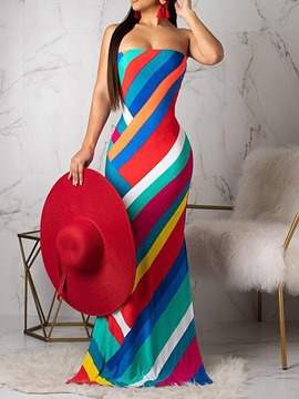 Ericdress Floor-Length Sleeveless Split Strapless Stripe Dress