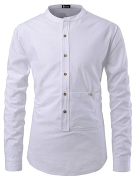 Ericdress Plain Casual Stand Collar Slim Mens Shirt