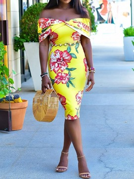 Ericdress Short Sleeve Off Shoulder Print Off Shoulder Pencil Dress