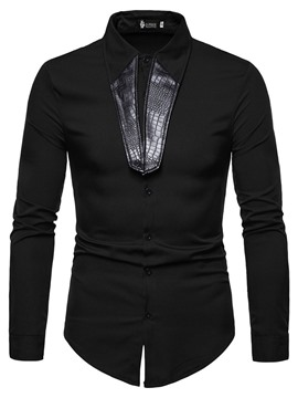 Ericdress Lapel Plain Casual Slim Mens Shirt