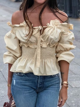 Ericdress Stringy Selvedge Off Shoulder Plain Blouse