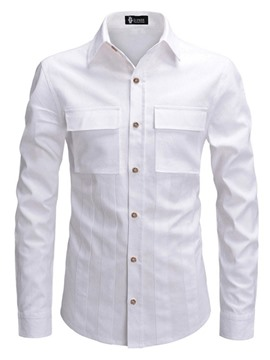 Ericdress Fashion Lapel Button Mens Slim Shirt