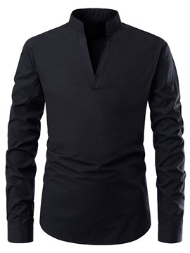 Ericdress Casual Plain V-Neck Mens Slim Shirt