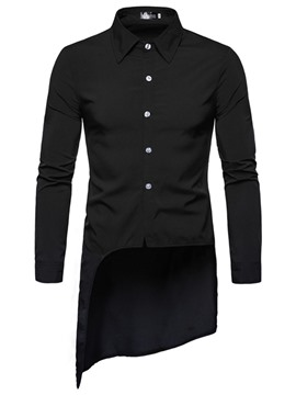 Ericdress Fashion Asymmetric Plain Mens Single-Breasted Shirt