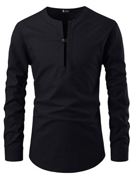 Ericdress Button Round Neck Fashion Slim Mens Shirt