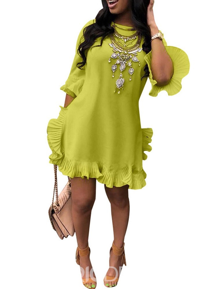 dd520da2db7 Ericdress African Fashion Above Knee Round Neck Pleated Casual Dress (14014135)