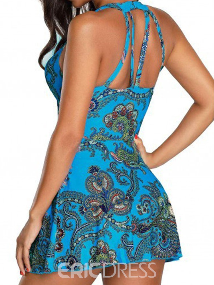 Ericdress Lace-Up Floral Print Swimsuit