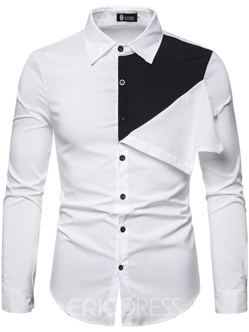 Ericdress Color Block Lapel Button Slim Mens Single-Breasted Shirt