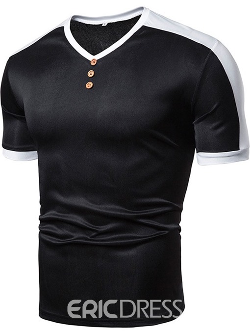 Ericdress V-Neck Casual Color Block Mens Slim T-shirt