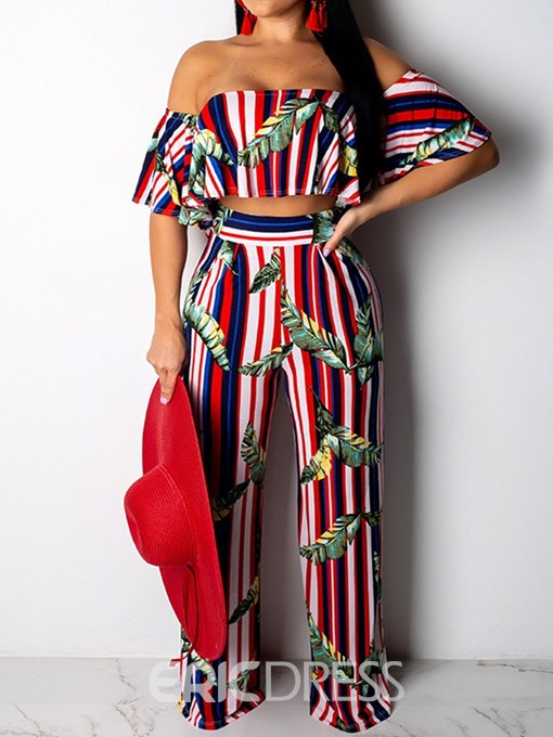 Ericdress Stripe Off-Shoulder Plant Wrapped T-Shirt And Pants Two Piece Sets