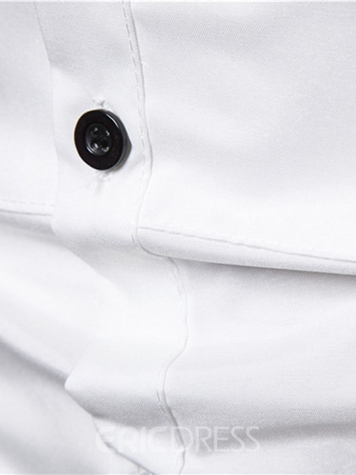 Ericdress Lapel Button Plain Single-Breasted Mens Slim Shirt