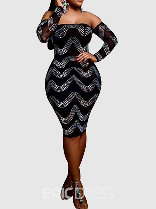 Ericdress Knee-Length Off Shoulder Long Sleeve Pullover Rhinestone Dress