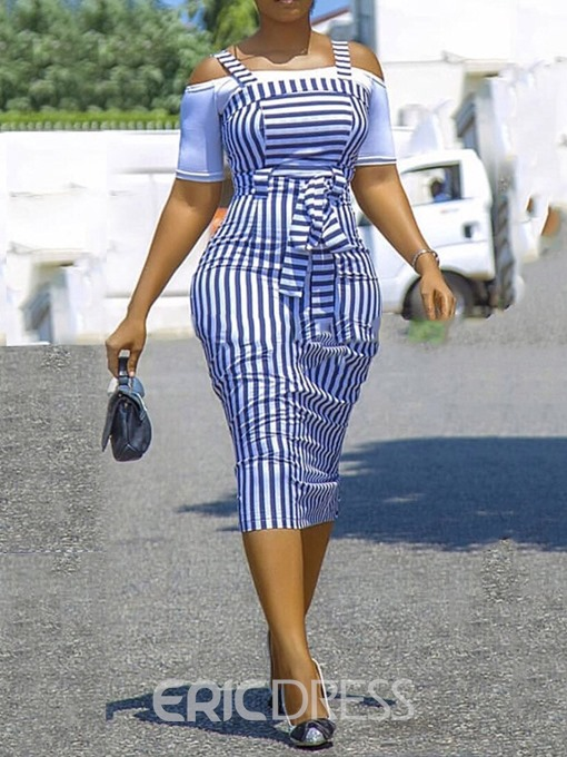 Ericdress Stripe Office Lady Bowknot A-Line T-Shirt And Dress Two Piece Sets