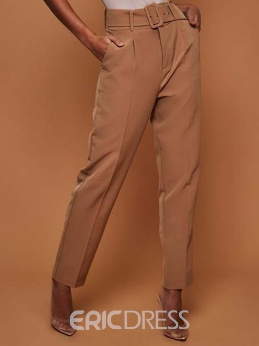 Ericdress Belt Plain Slim Full Length High Waist Casual Pants