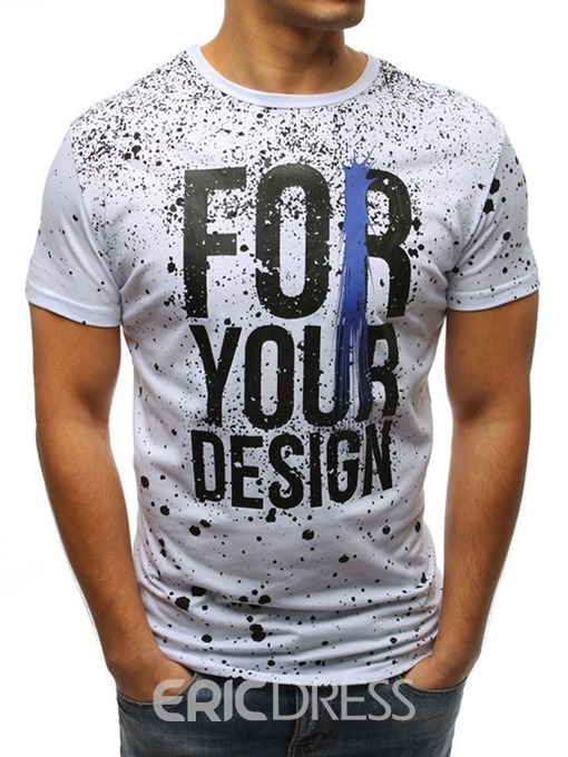 Ericdress Letter Print Round Neck Slim Mens T-shirt