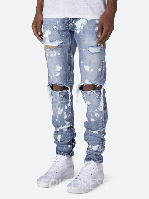 Ericdress Zipper Casual Mid Waist Mens Jeans