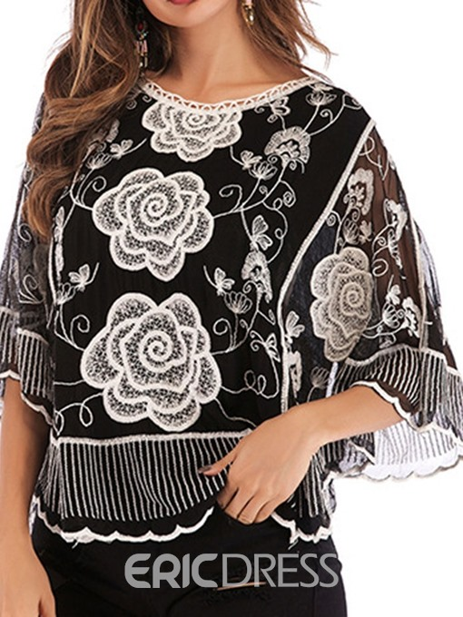 Ericdress Embroidery Floral Round Neck Blouse
