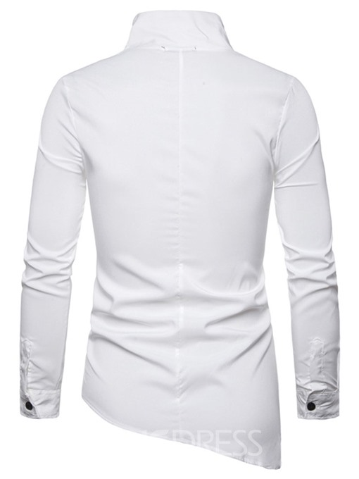 Ericdress Fashion Stripe Stand Collar Slim Mens Single-Breasted Shirt