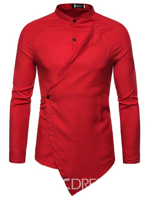 Ericdress Stand Collar Plain Button Summer Mens Slim Shirt