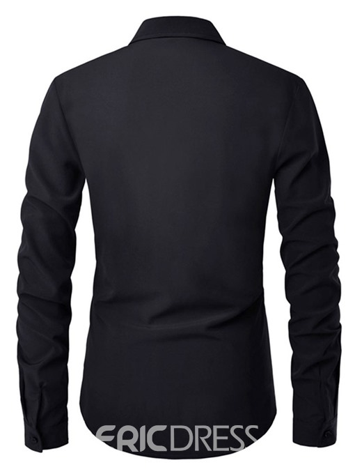 Ericdress Button Plain Lapel Slim Mens Single-Breasted Shirt