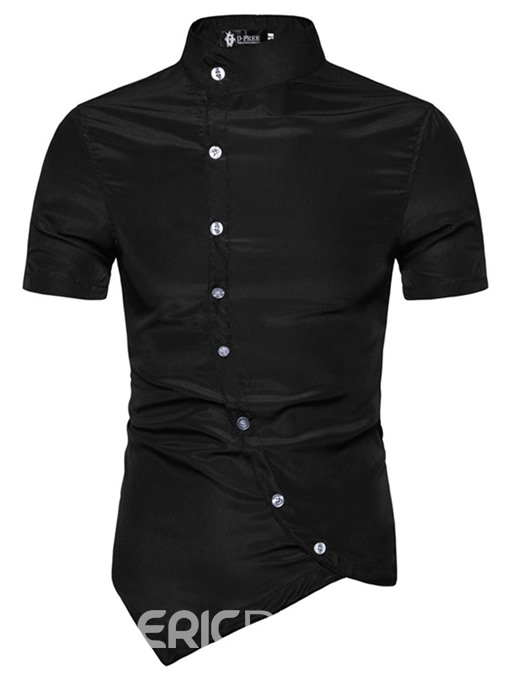 Ericdress Fashion Button Stand Collar Summer Mens Single-Breasted Shirt