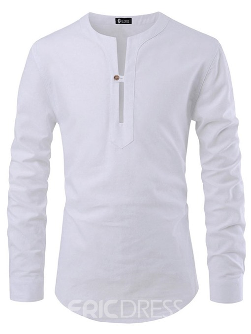 Ericdress Plain Casual Button Slim Mens Shirt