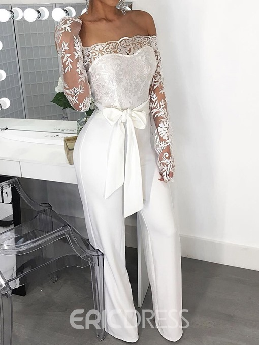 Ericdress Sexy Lace Off-Shoulder Full Length High Waist Slim Jumpsuit