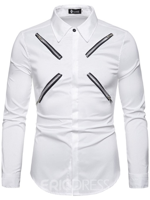 Ericdress Pocket Fashion Plain Mens Slim Summer Shirt