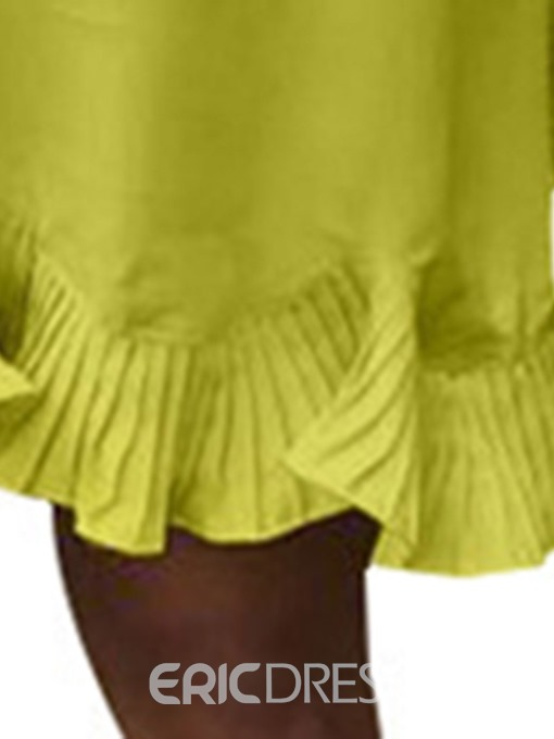Ericdress African Fashion Above Knee Round Neck Pleated Casual Dress