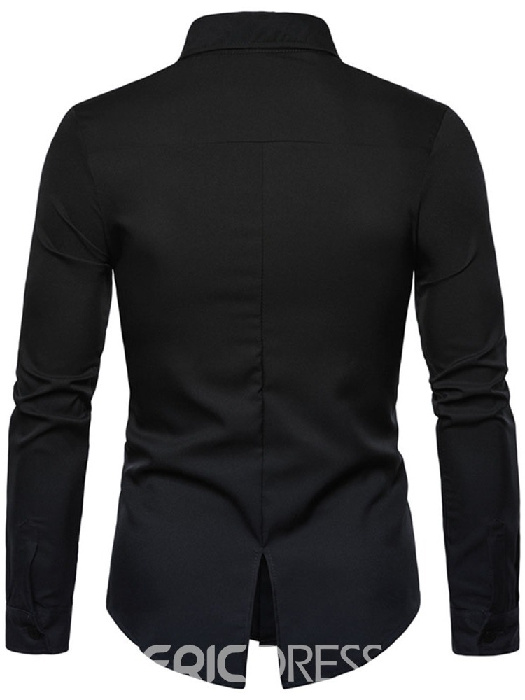 Ericdress Lapel Button Fashion Mens Slim Shirt