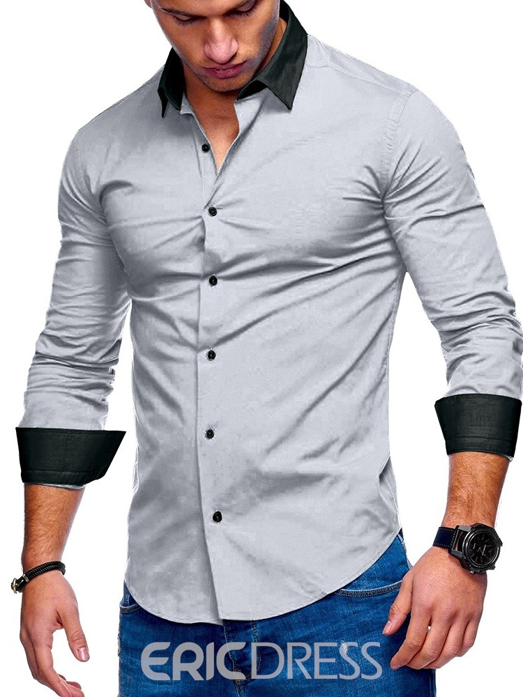 Ericdress Color Block Button Lapel Single-Breasted Mens Shirt