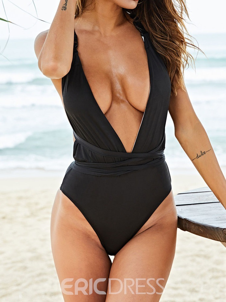 Ericdress Plain V-Neck Sexy Swimwear