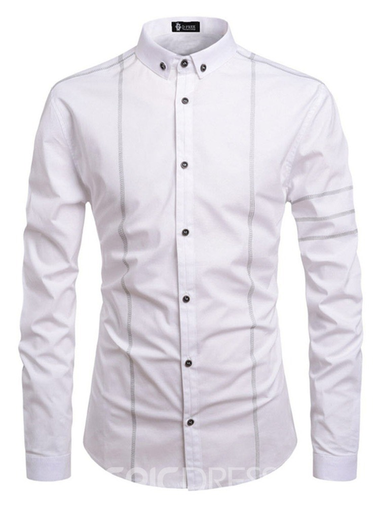 Ericdress Lapel Fashion Button Mens Slim Shirt