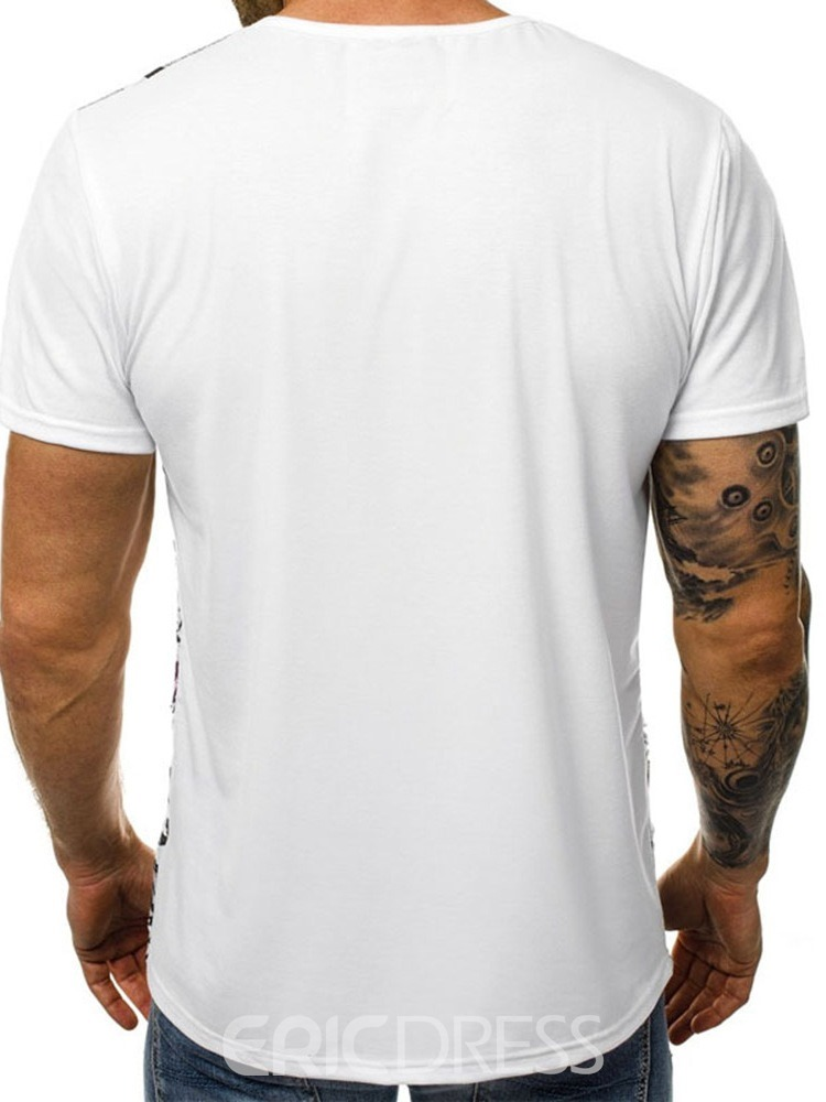 Ericdress Hole Color Block Round Neck Slim Mens T-shirt