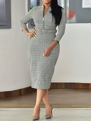 Ericdress Print Three-Quarter Sleeve Round Neck Office Lady Dress thumbnail