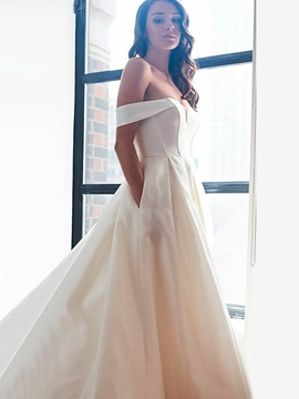 Ericdress A-Line Pockets Off-The-Shoulder Hall Wedding Dress 2019