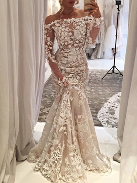Ericdress Long Sleeves 3D Floral Wedding Dress