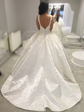 Ericdress Straps 3d Floral Ball Gown Hall Wedding Dress 2019